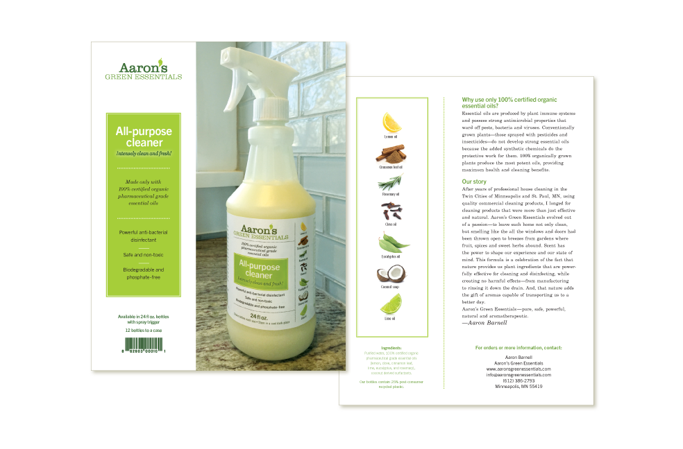 Sellsheet for Aaron's Green Essentials