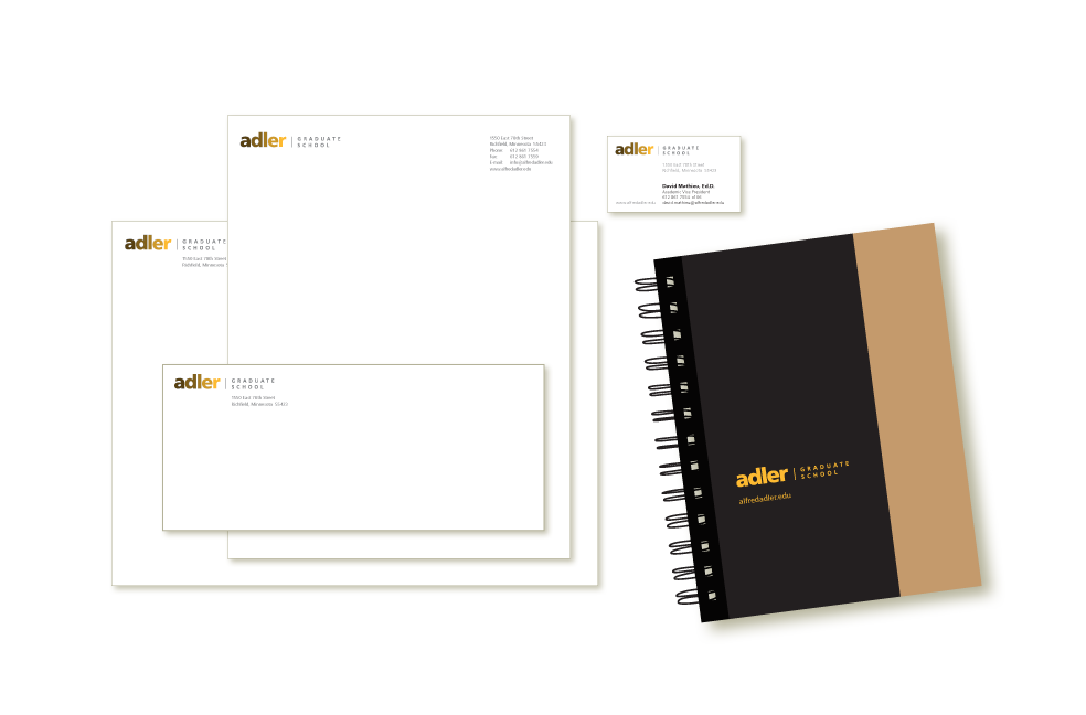 Images of stationery for Adler Graduate School