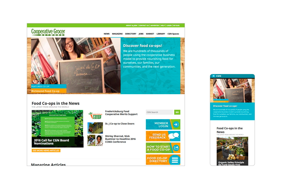 Desktop and mobile views of Cooperative Grocer website