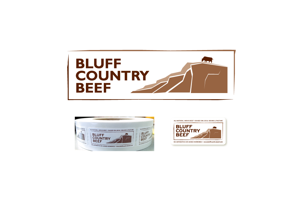 Bluff Country Beef logo and labels