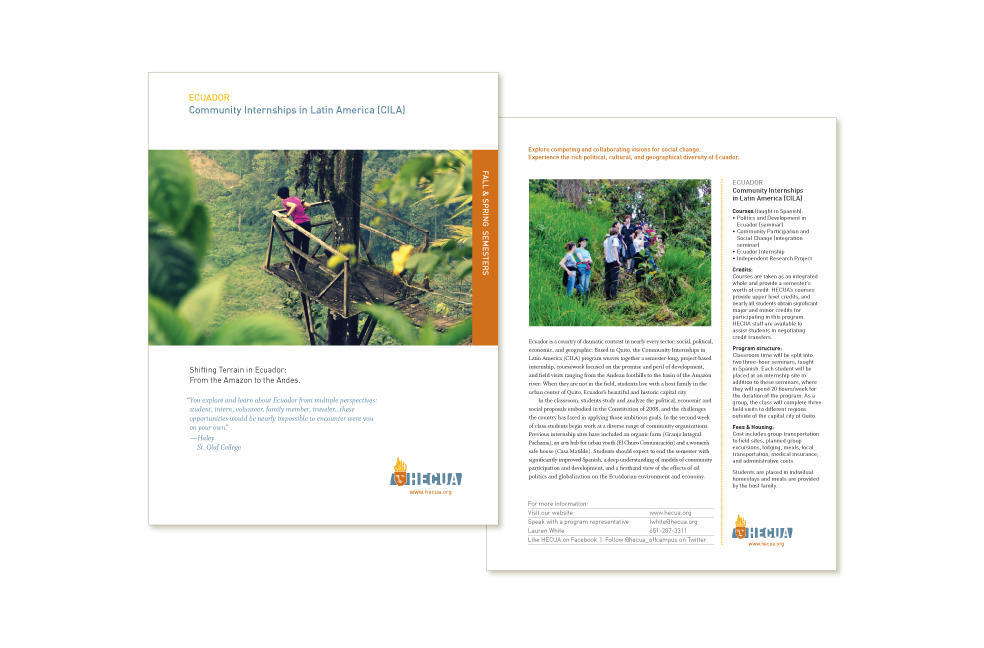 Flier design for Higher Education Consortium for Urban Affairs (HECUA)