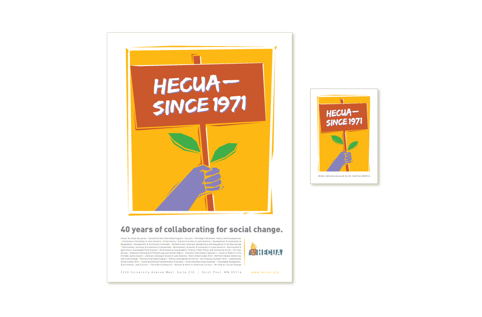 Postcard design for Higher Education Consortium for Urban Affairs (HECUA)