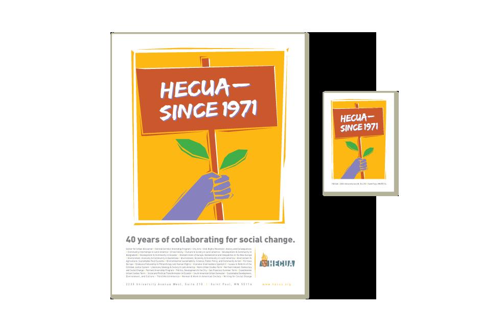 Postcard design for Higher Education Consortium for Urban Affairs (HECUA)