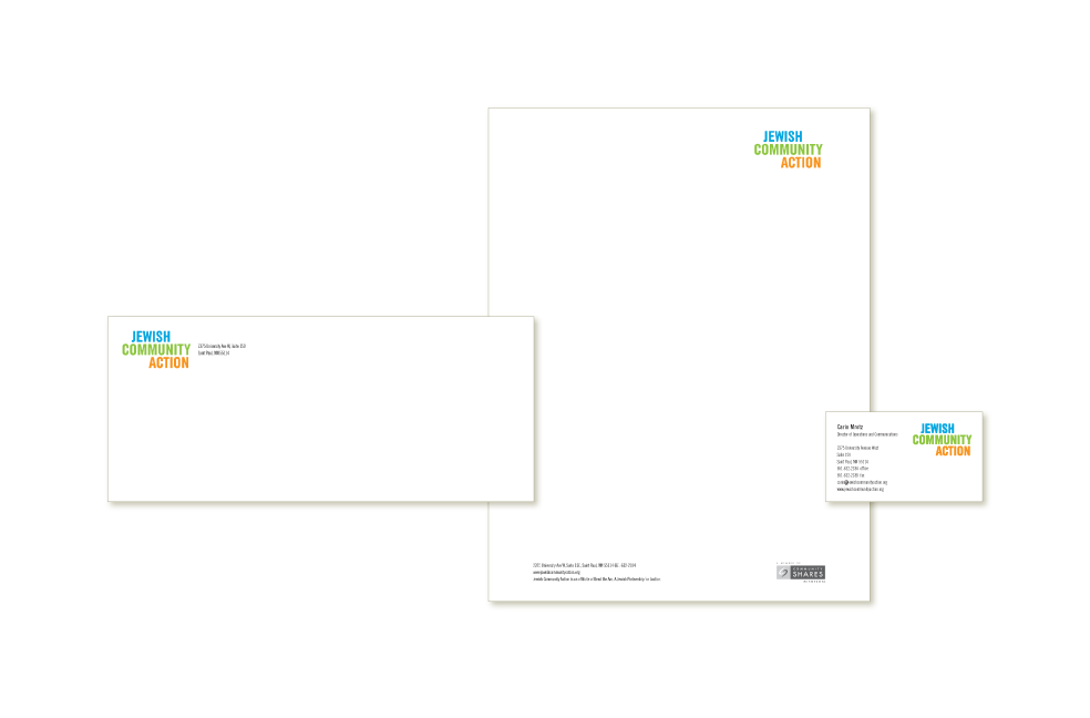 Stationery system for Jewish Community Action