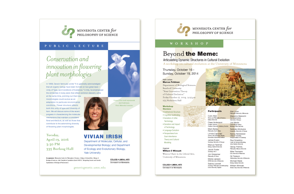 Special event posters for Minnesota Center for Philosophy of Science