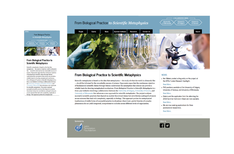 Desktop and responsive view of Biological Practice to Scientific Metaphysics website