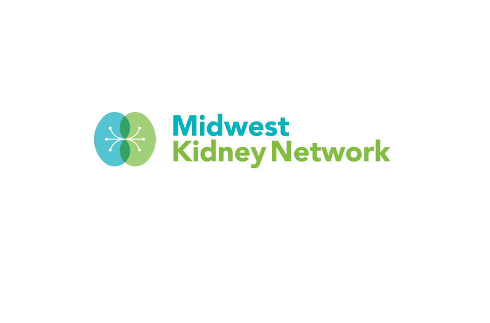 Horizontal Midwest Kidney network logo: Pastel aqua and green kidney drawing and text