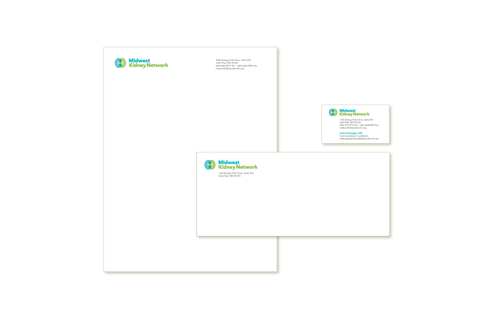 Samples of the stationery for envelope, letterhead and business cards