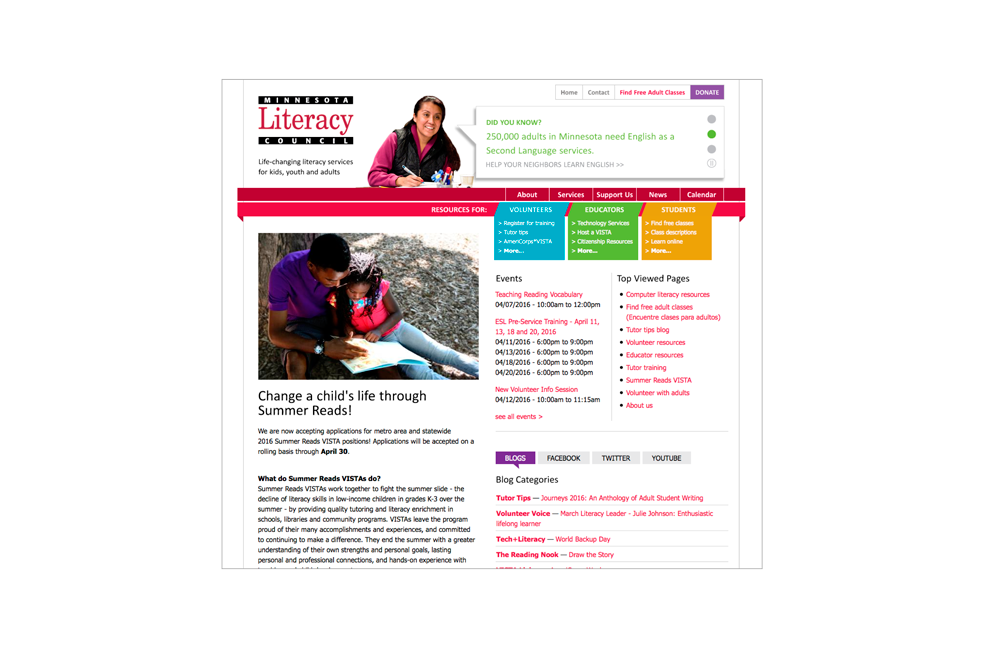 Desktop view of Minnesota Literacy Council website