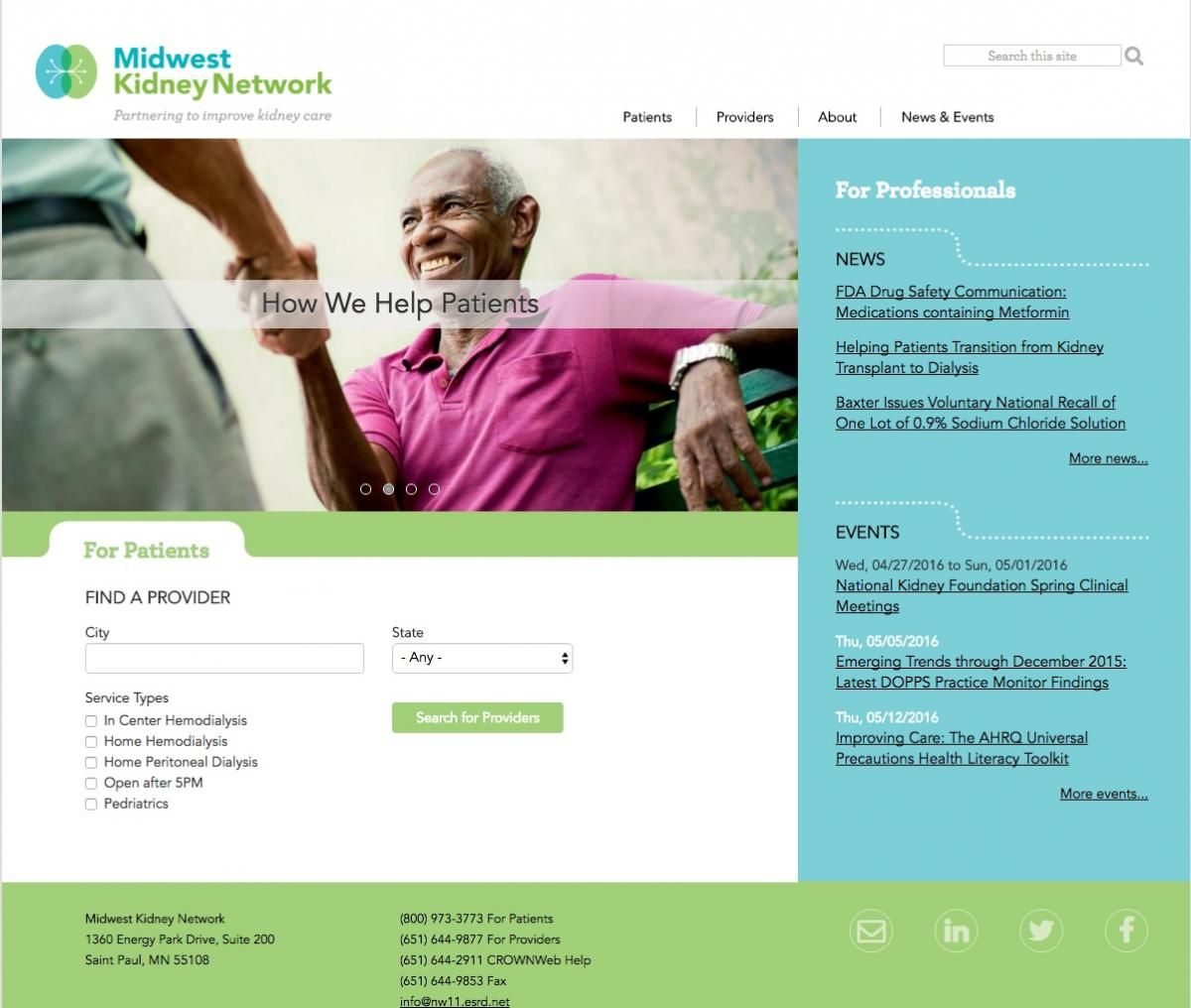 Midwest Kidney Network website design and development