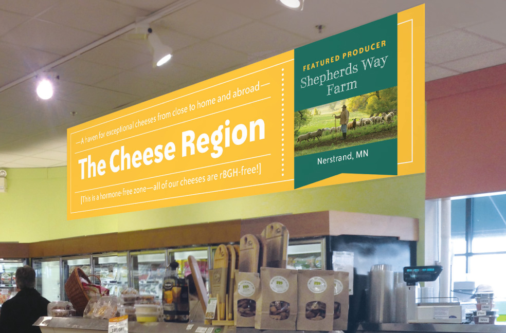 Cheese region sign design for Mississippi Market