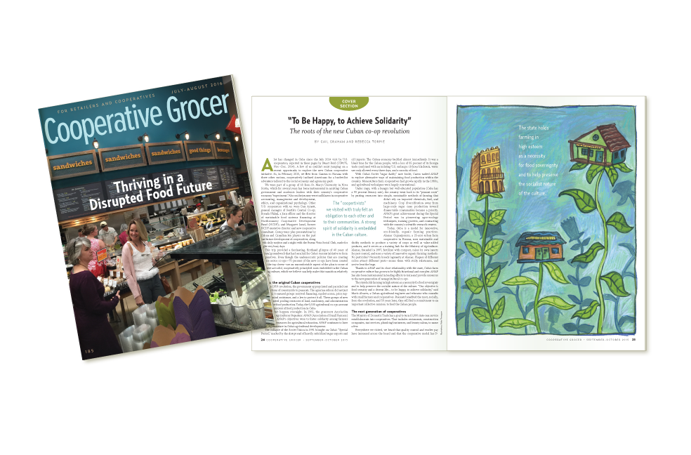 Display of Cooperative Grocer Magazine Cover, and sample interior page,  July-August 2016