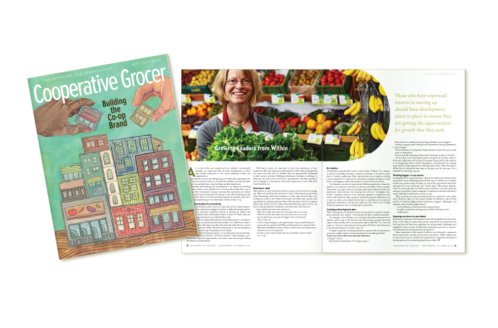 Display of Cooperative Grocer Magazine Cover, and sample interior page,  September-October, 2016