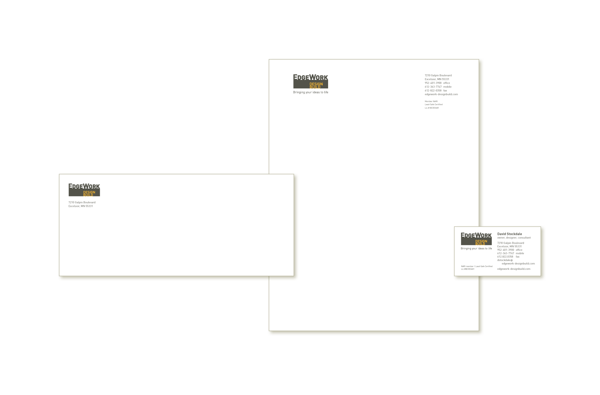 EdgeWork Design Build stationery