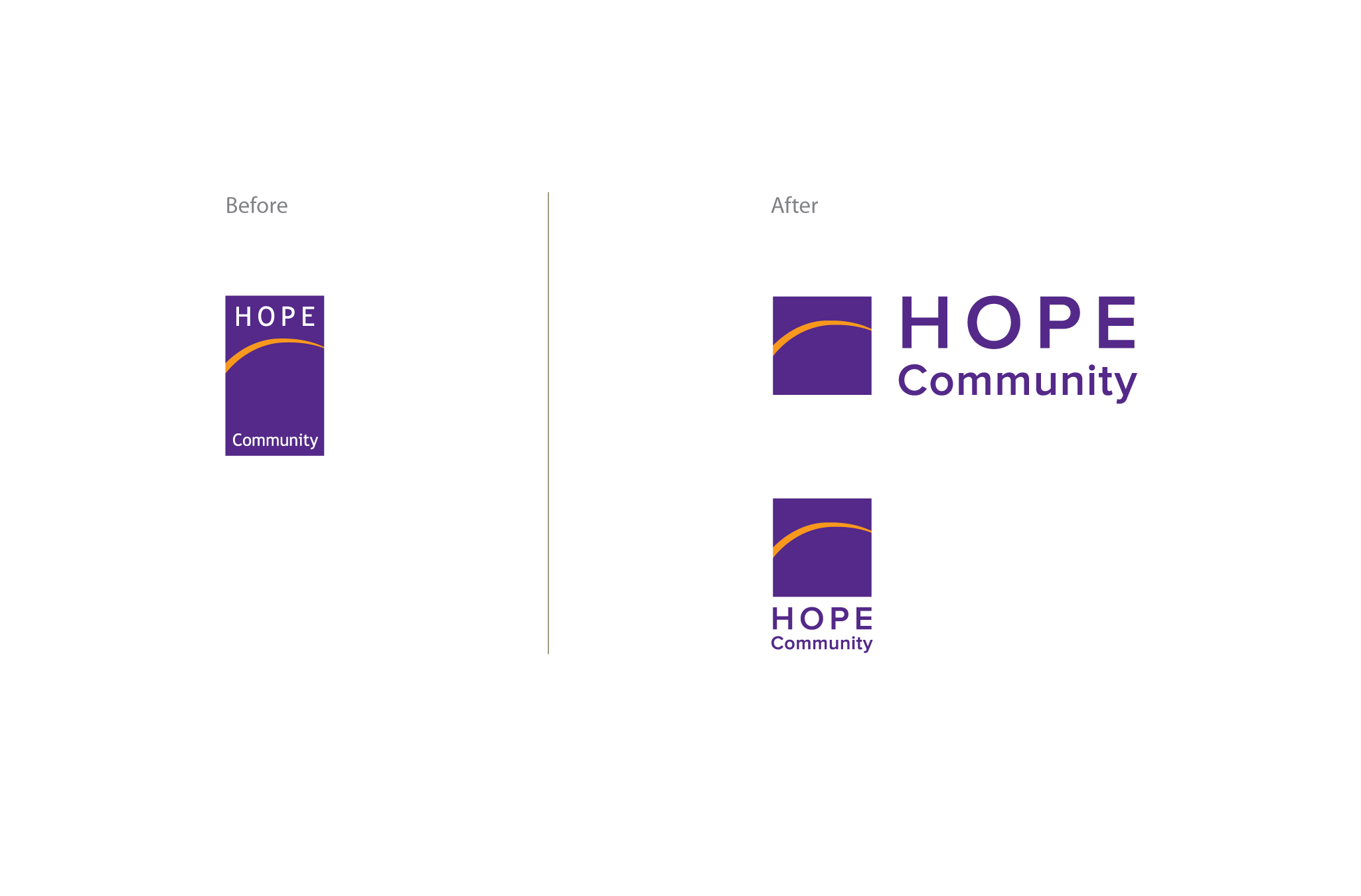 Hope logo - before and after redesign
