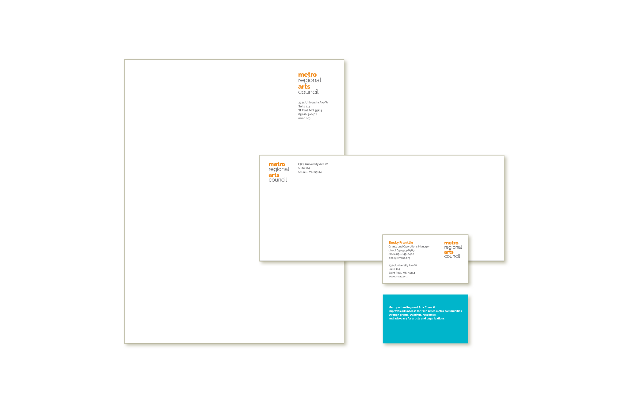 Metropolitan Regional Arts Council new business stationery