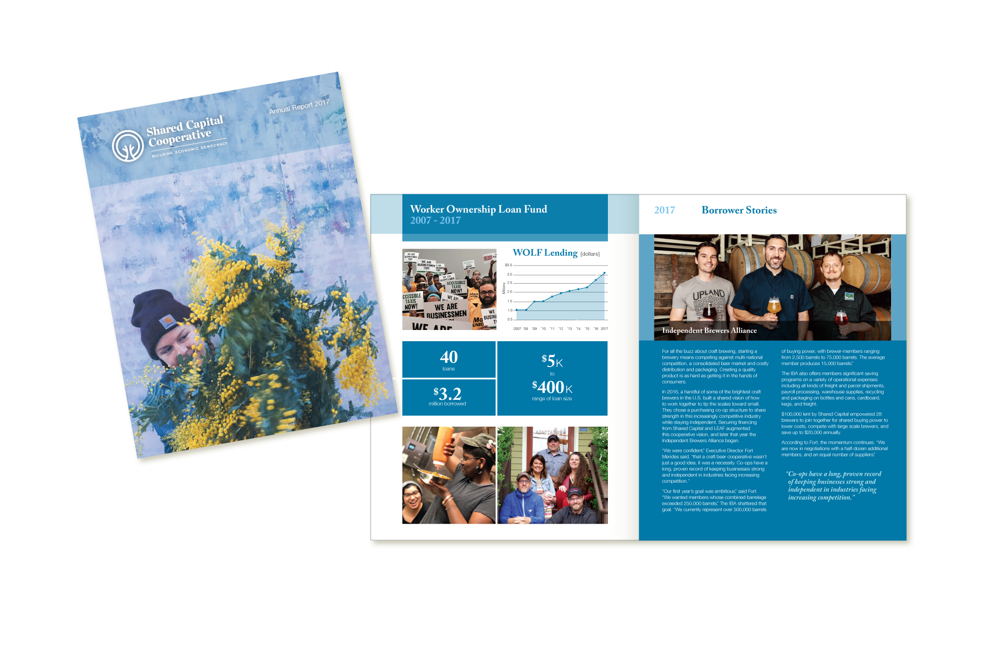 2017 annual report design for Shared Capital Cooperative
