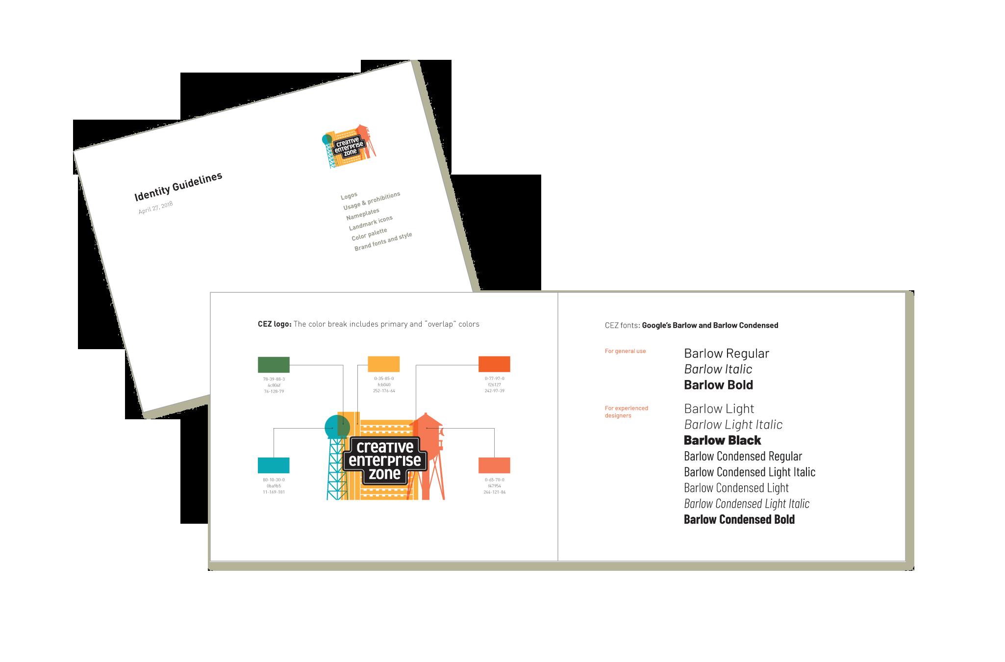 Creative Enterprise Zone graphic guidelines document