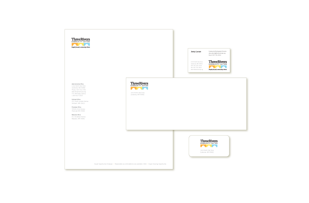 Stationery design for Three Rivers Community Action