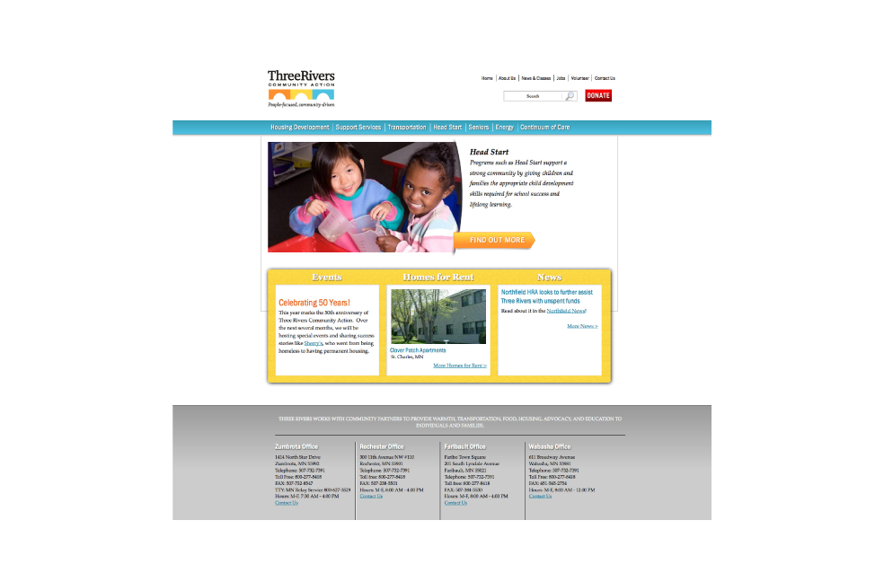 Website design for Three Rivers Community Action