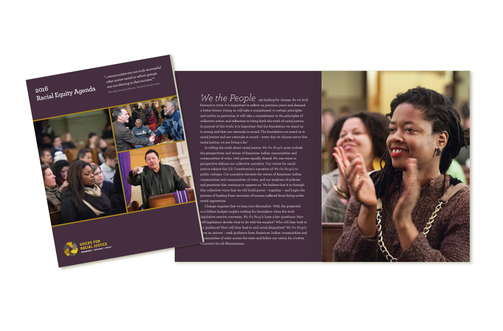 2016 agenda design for Voices for Racial Justice