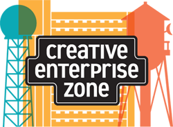 Creative Enterprise Zone logo - KSTP globe antenna, highrise apartment building, Vandalia water tower