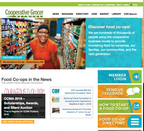 Screen shot of www.grocer.coop website home page