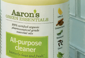 Close up of Aaron's Green Essentials product label